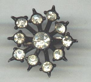 Brooch/Japaned Scatter Pin W/Clear Rhinestones