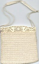 Purse/Carved Ivory or Bone Handled/Crocheted