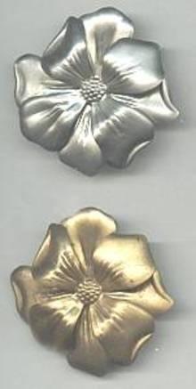 Dress Clips(s)/Pr. Stamped Floral /1-Goldtone/1-Silvertone