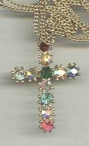 Necklace/Contemporary GT Cross W/Multi Clored Rhinestones
