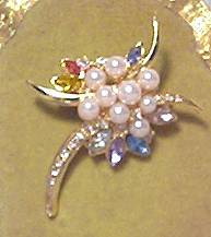 Brooch/GT  W/Faux Pearls/Multi Color Navettes