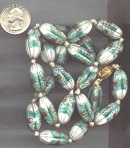 Necklace/Large Planted Glass or Ceramic Beads W/Gold Plated Clasp
