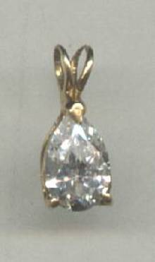 Pendent/Contemporary W?Pear Shaped Zircon or Crystal/Mark 14K?