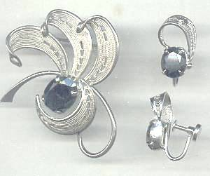 Set(s)/Designer/Sorrento Sterling/Western Germany ST W/Faux Hemetite/Brooch/Ear Screws