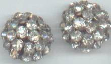 Earrings/Clips/Clear Rhinestones/Domed Button