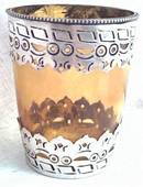 Household Item(s)/Candle Holder/Large Amber Glass With Sterling Overlay