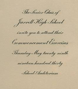 Ephemera/Commencement Invitation for Jarrell High School