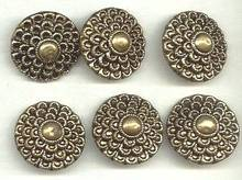 Button(s)6 Lg. Stamped Brass Shank Buttons