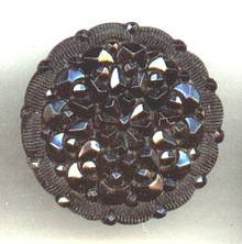 Button(s) 1 Black Fancy Lacy Glass Shank Button