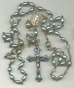Roseary/Aqua Fauz Pearls/Aqua Celluloid Insert