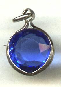 Charm(s)/ST Collet Set Blue Glass Stone