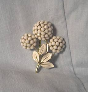 Brooch/White Rhinestone Floral/Enamel Leaves