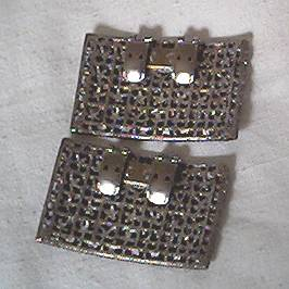Shoe Clips/C.1960's Casted White Metal Rectangles W/Floral motif