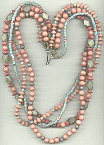 Necklace/Multi Strand Dyed Wooden Beads/Blue, Rose & Green