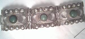 Bracelet/c.1940's Mexican Silver 3-Panel Cuff