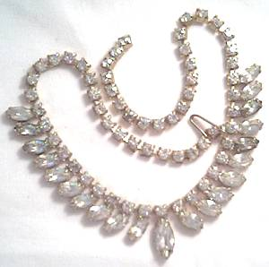 Necklace/Unsigned 1950's Fringe Style Rhinestone