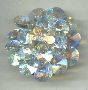 Brooch/Unsigned C.1960's AB Rivoli & Margarita Wired Beads