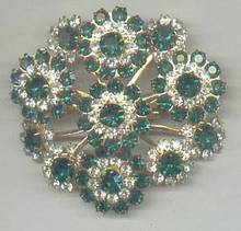 Brooch/C.1960's-1970's GT W?Clear&Emerald Green R/S
