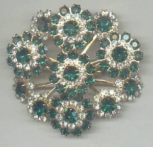 Brooch/C.1960's-1970's GT W?Clear&Emerald Green R/S