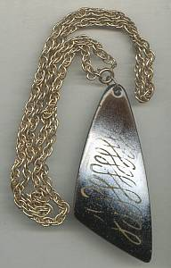 Necklace/1970's Abstract Enameled Pendent/Chain