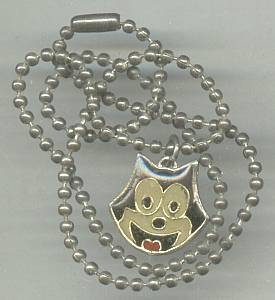 Necklace/Felix The Cat Enameled Pendent W/Ball Chain