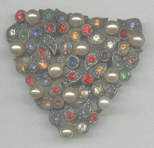 Brooch/Converted 1930's Dress or Fur Clip/Multi Stones W/Glass Pearls