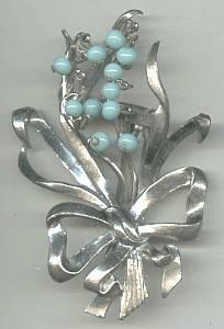 Fur Clip(s)/3-D ST Floral W/Aqua Glass Dangling