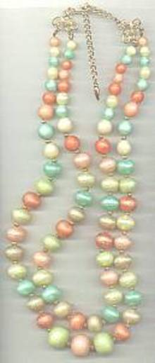 Necklace/1960's 2-Strand Pastel Beads