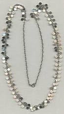 Necklace/1970's Retro Silvertone W/Dangling Discs