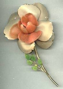 Brooch/Enameled Flower W/Plastic Center