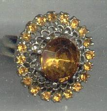 Ring/Fashion Topaz Colored Rhinestones