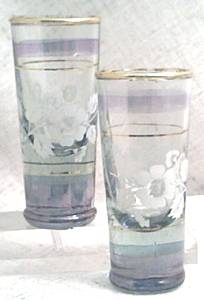 Glass/Pr.Blown Cordials With Floral Transfer Design/Gold Trim