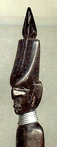 Ethnic Collectibles/Ebonized? Wood Carved Head Letter Opener/African Tribesman W/Mask&/orHeaddress