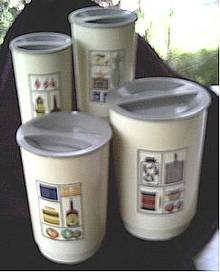 Kitchen Ware/Circa 1960's Set of 4 Plastic Canisters W/Decal (transfer)Decoration