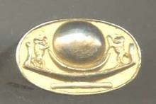 Ring/Man's/Goldtone/Egyptian Motif/Bronze?