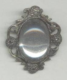 Brooch/Unsigned Ornate W/Lg. Mirroed Stone