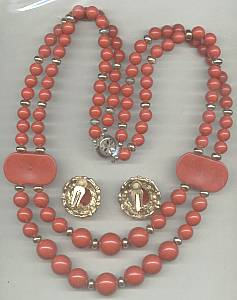 Set(s)c.1980 Red Plastic Bead Necklace W/Ear Clips