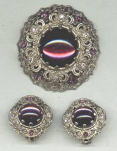 Set(s)3D Filagree Brooch&Ear Clips W/Purple Cab Mark W Germany