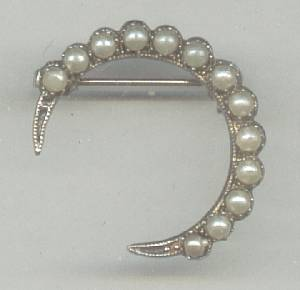 Brooch/Victorian Revival Cresent W/Faux Pearls