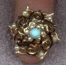 Brooch/Victorian Style W/Faux Pearls/Glass Turquoise&Some Black Enamel