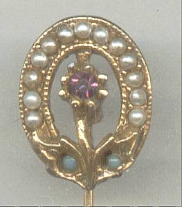 Stick Pin/Lapel Pin GT Victorian revival Style W/Faux Seed Pearls&RS