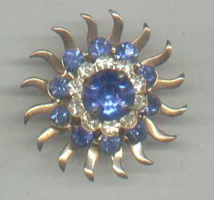 Brooch/C.1960's GT Starburst W/Blue Rhinestones