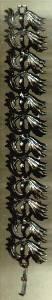 Bracelet/Links/Black Enamel  in a Feather Motif