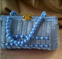 Purse/Straw/C. 1960's-1970's Turquoise