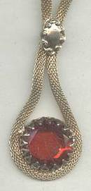 Necklace/GT Mesh W/Large Red Glass Drop