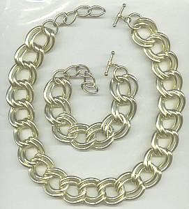Set(s)Large GT Link Necklace & Bracelet W/Toggle Clasps