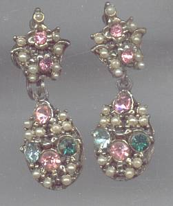 Ear Screws/Florenza Style Dangles W/RS & Faux Seed Pearls