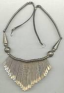 Necklace/LG Handmade Bib W/Brass Dangles