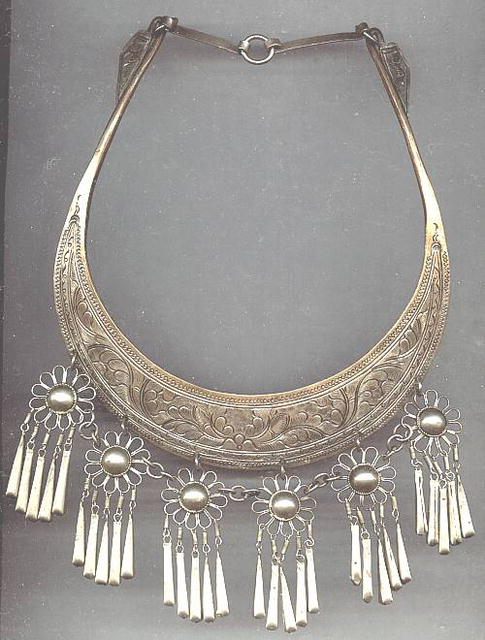 Necklace/Neck Cuff or Plate/Floral Dangles/Middle Eastern