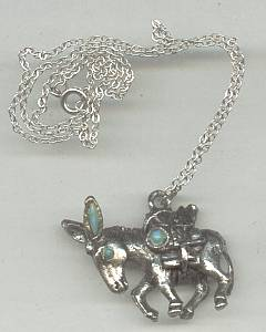Necklace/Cast Miners Donkey Pendent W/Faux Turquoise